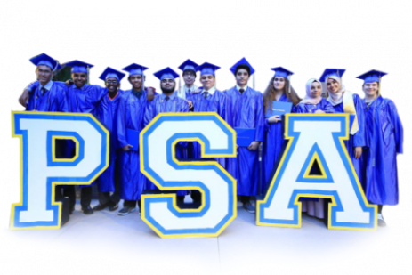 PSA graduation holding sign